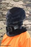 Kopfsack aus doppeltem Kunstpelz mit Halsband