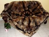 Marderhund-Decke, mit Stern, 190x190 cm