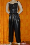 Bib-pants latex, long legs, shoe/lockable-option