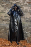 Coat / robe PVC with hood, calf-long