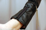 Mittens with cuffs, artif. leather/fauxfur