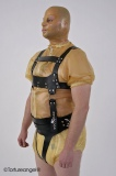Chest walk-harness with nappy safety harness