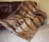 Red fox blanket, natural fur in several sizes